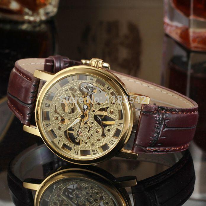 Победитель часы механические часы для мужчин черный кожаный ремешок бесплатная доставка WRG8005M3G4
