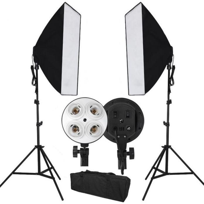Нбеспошлинный ввоз в Россию, для фотографов, софтбокс, свет, осветительный набор, фото оборудование, мягкий студийный свет, 50x70 см. световые боксы и 8 E27 патронов для ламп, EU, CE