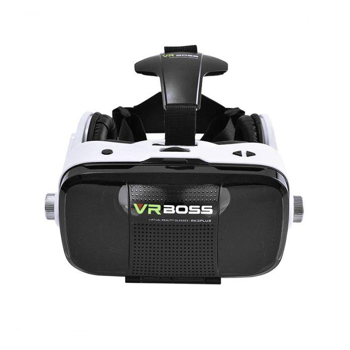 """2016 Новый БОСС 3D Очки Виртуальной Реальности VR VR Гарнитура + Микрофон Google Картон FOV120 для 4 ~ 6.3 """"Android iOS Смартфонов"""