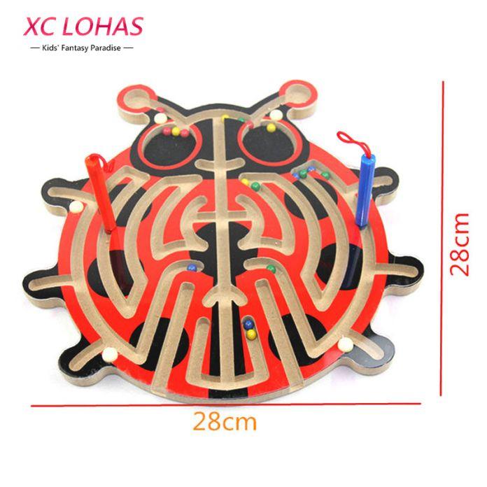 2 в 1, деревянный магнитный лабиринт, магнитное перо, детская настольная игра Лабиринт, шахматная доска, образовательная игрушка