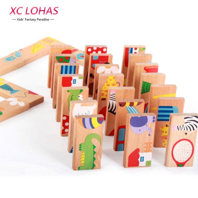 28 шт., деревянное цветное домино для детей,  когнитивное домино, интеллектуальная настольная игра для детей, обучающая и образовательная детская игрушка