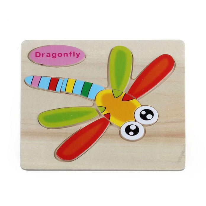 Новый Деревянный Стрекоза Головоломки Обучающие Развивающие Baby Дети Обучение Игрушки для детских детей 1-3 лет оптовая
