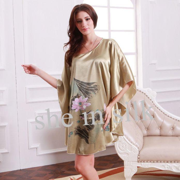 Новая Мода Лето Свободный Размер Банный Халат Longue Дамы Ночное Белье Лотоса Печати Женщины Пижамы Для Сна И Отдыха 10169
