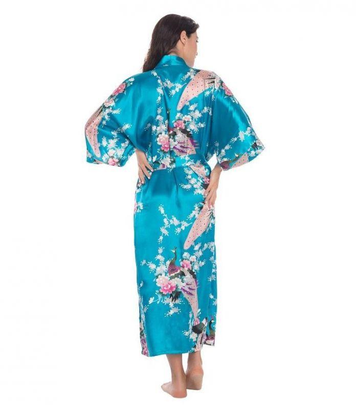Светло-Зеленый Женский Длинная Ночь Халат женские Кимоно Банный Халат пижамы Плюс Размер Sml XL XXL XXXL Pijama Mujer LS0002C
