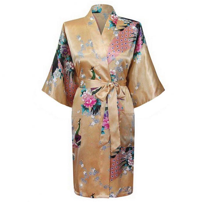 Yeller мода женщин павлин кимоно банный халат ночная рубашка платье юката халат пижамы с поясом sml XL XXL XXXL KQ-5