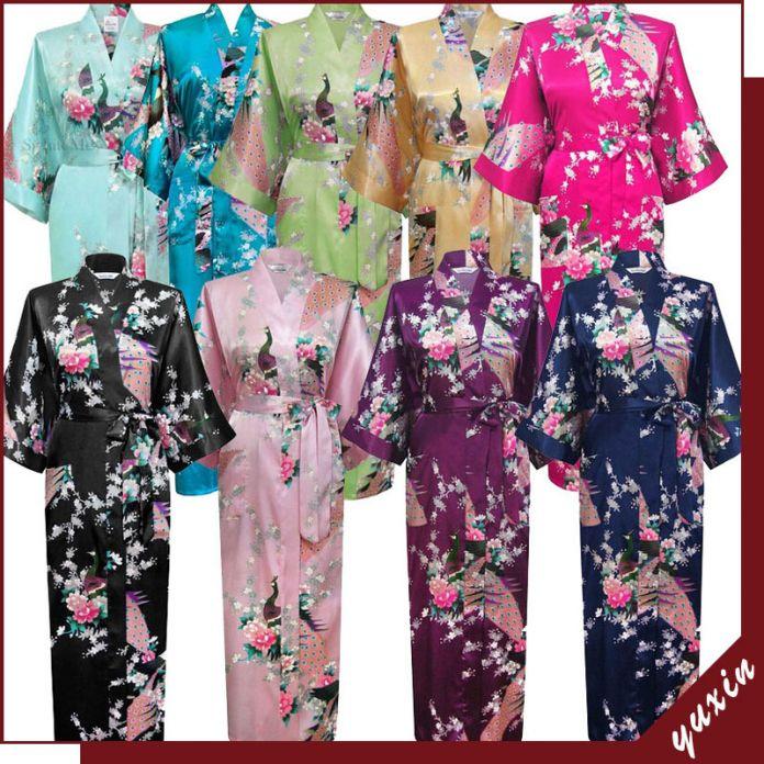 Фиолетовый мода женщин павлин долго кимоно банный халат ночная рубашка платье юката халат пижамы с поясом sml XL XXL XXXL