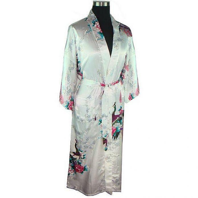 Белый Женщины Банный Халат Платье Дамы Искусственного Шелка Сексуальные Кимоно пижамы Ночной Рубашке Плюс Размер Ml XL XXL XXXL Pijama Mujer LS0001A