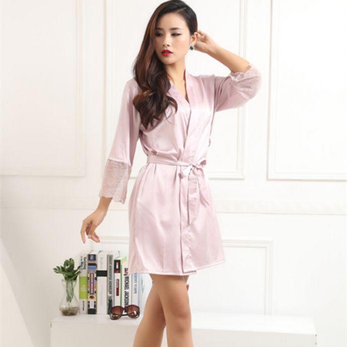 Горячая Женщины Сексуальное Шелковый Атлас Одеяния Кимоно Ночное Пижамы Пижамы Банный Халат Ночная Рубашка С Поясом
