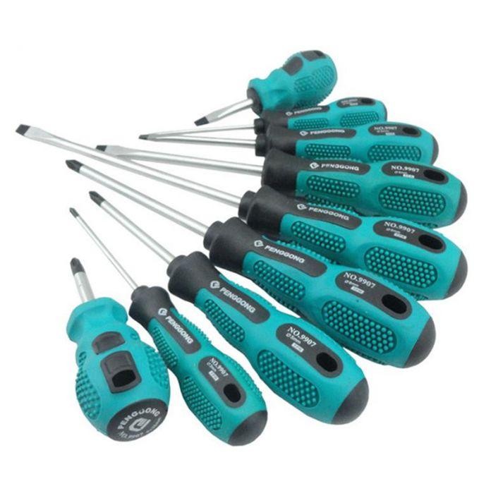 9 Шт. Набор Отверток Магнитный Филлипс Шлицевая Пластиковой Ручкой Удобная Сумка Инструменты Для Ремонта