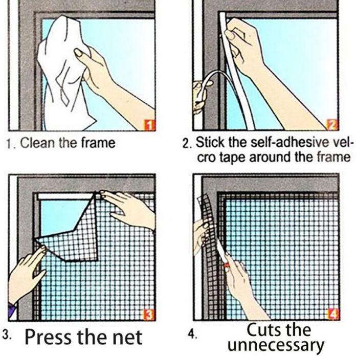 Самоклеящиеся москитная сетка шторы муха Bug защитником от для окна сетки невидимые с волшебной палочкой S417