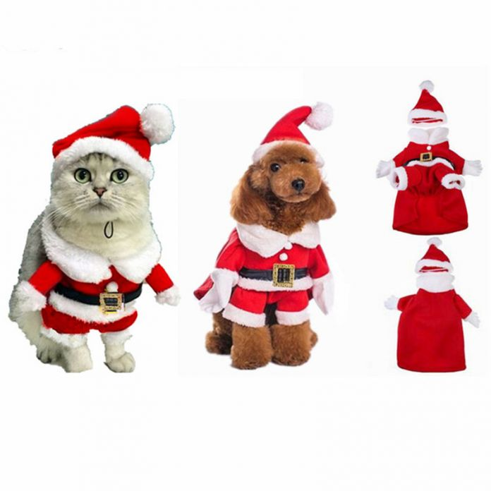 Pet Одежда для Собак на Рождество Санта Костюм Кошки Зимняя Одежда Для Собак для Собак Coat Толстовка для Чихуахуа Roupas Abrigo де Перро 30