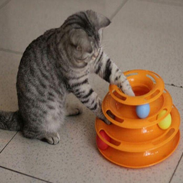 Кошка Интерактивная Игрушка Для Домашних Животных Подготовки Развлекательной Пластины Творческий Pet Cat Игрушка Роскошь Трехслойную Сумасшедший Мяч на Диск Игры