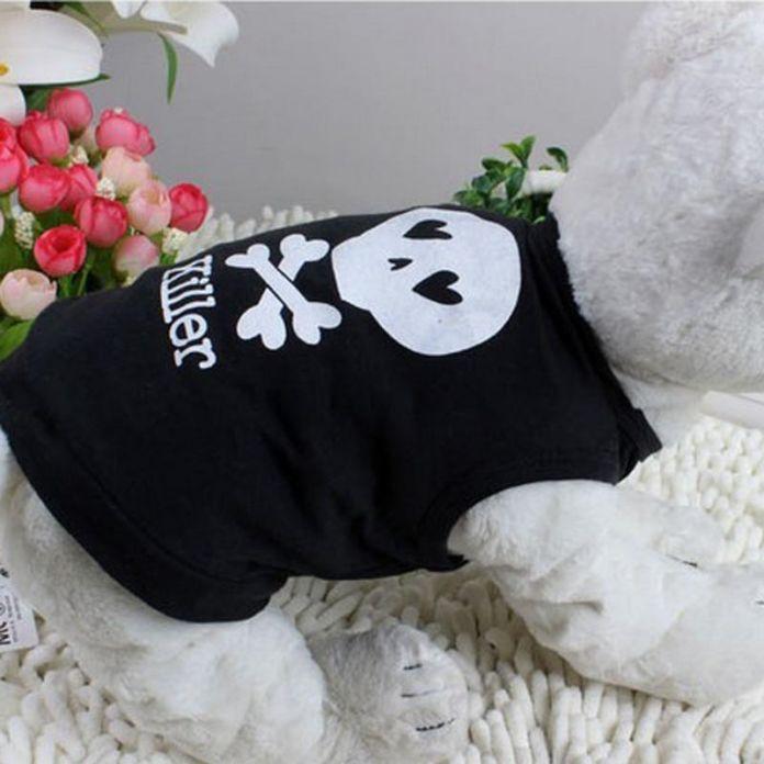 Roupas пара гато черный пиратский собаки жилет футболки пальто одежда любимчика лета хлопок одежда для кошек