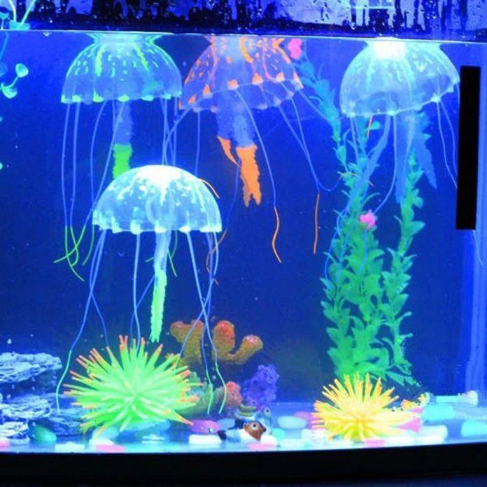 Горячие Продажи Медузы Светящийся Эффект Аквариум Украшения Искусственный Светящийся Эффект Fish Tank Орнамент VCQ66 P0.3