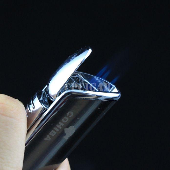 COHIBA Змея Рот Форма Металл Ветрозащитный 3 Факел Jet Flame Сигарет Прикуривателя вт/Встроенный Сигары Удар w/подарочная Коробка