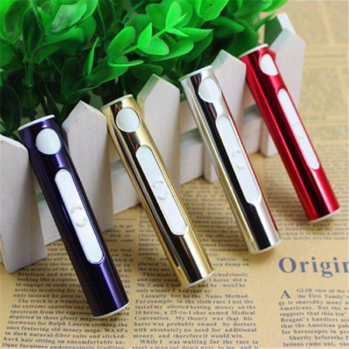 Новый USB Зажигалка Аккумуляторная Табака Прикуривателя Непламено ветрозащитный золото труба металлическая зажигалка