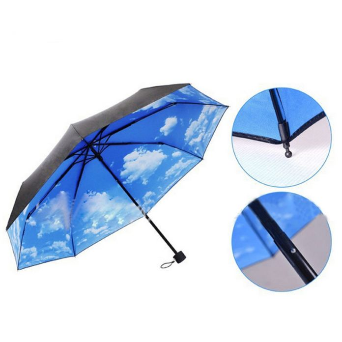 2016 Горячая Зонтики Супер Зонтики Анти-Уф Защита От Солнца Зонтик Blue Sky 3 Складывающихся Зонты Дождь груза падения на продажу