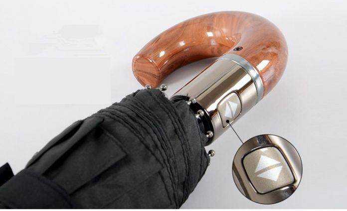 Бесплатная доставка высокое качество крючок мужской автоматическая толстой ветрозащитный обычный человек крюк зонтик для дождя зонты три складной