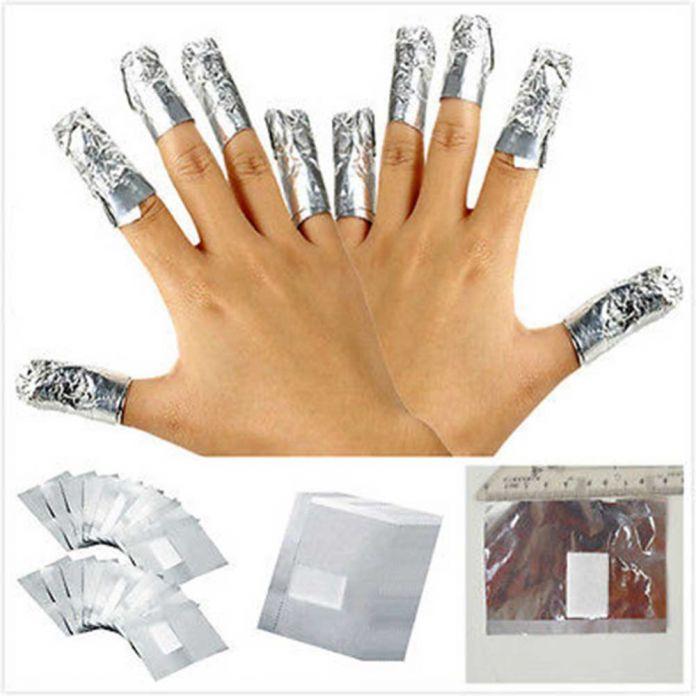Алюминиевой Фольги Nail Art Soak Off Акриловые Гель-Лак Для Ногтей удаление Обертывания Remover Макияж Инструмент Очиститель Обертывания Маникюр Бумаги Колодки W1