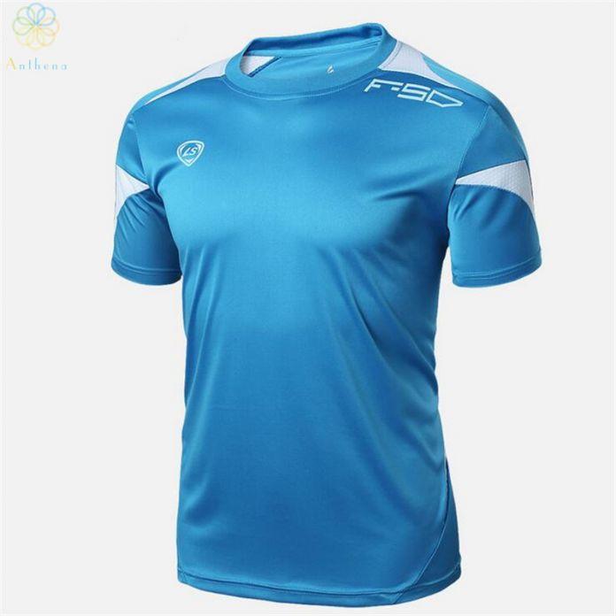 Anthena 2016 новое поступление мужчины футбол кофта кроссовки футболка летние топы Slim Fit футболка фитнес зал быстрый сухим оптовая продажа