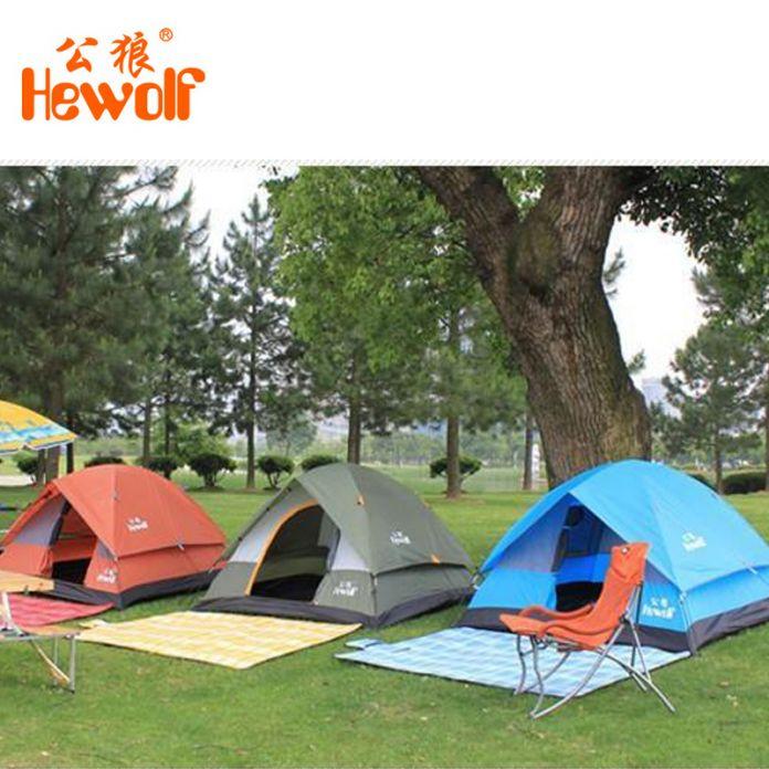 Hewolf Водонепроницаемый Двойной Слой 2 3 человек Открытый Палатки Кемпинга Туризм Пляж Палатка Туристическая спальня путешествия 2016 китай barraca tenda