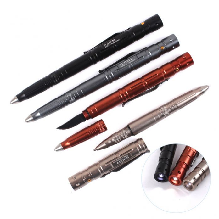 4 в 1 Многофункциональный Пуля Shaped Ручка Ножа Выживания EDC СВЕТОДИОДНЫЙ Свет Спасательные Молоток Шариковая Самооборона Кемпинг