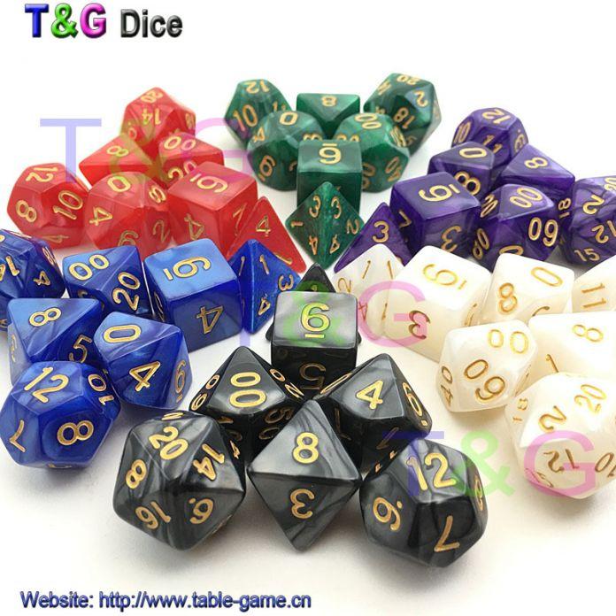 Новое Золото Чернил D & D Кости с Мраморным эффектом D4 D6 D8 D10 D10 % D12 D20 7 Шт./компл. белый красный черный фиолетовый голубой зеленый 6 Цветов кости