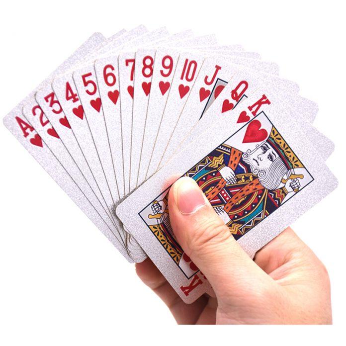 Серебряная Фольга Игральные карты Техасский Холдем Покер Серебряная Фольга Гальваническим Покер Карты Смешно высококачественные Спорт Азартные Игры Pokerstars