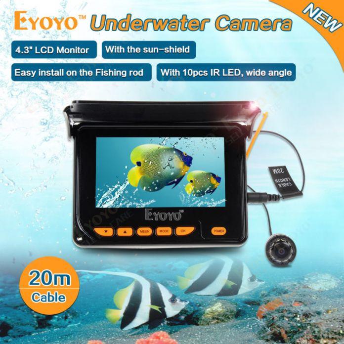 """Бесплатная доставка! 20 М HD 1000TVL Подледная Рыбалка, Подводная Камера Видео Эхолот 4.3 """"LCD 10 шт. IR LED 150 Градусов Угол Солнцезащитный Козырек"""