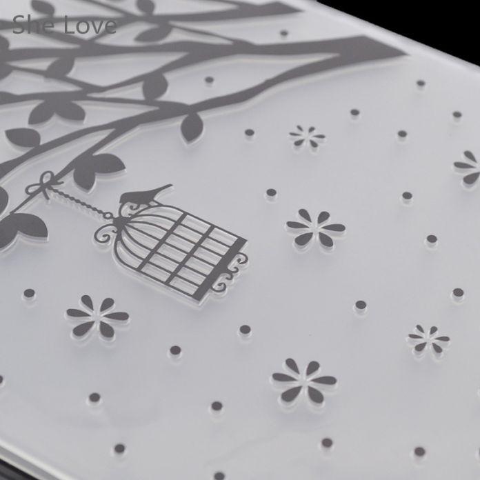 Пластик Дерево Клетка Для Птиц Шаблон Тиснение Папки Для Скрапбукинга Фотоальбом Бумажные Карты Свадебные Украшения