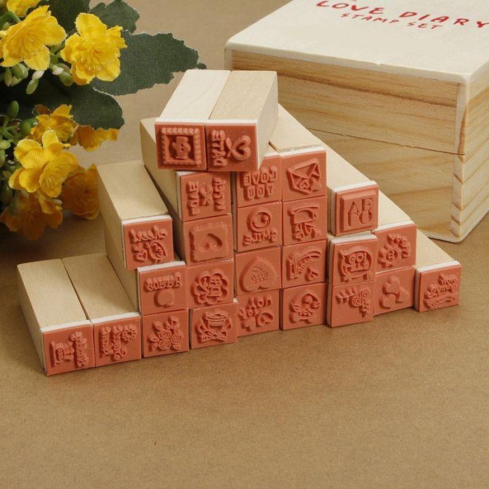 25 шт./компл. оптовая продажа цена деревянный штамп ящик любовь дневник штамп резина симпатичные Multiduty рисование искусство