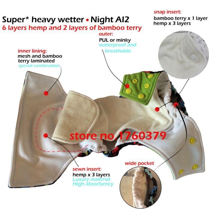 Детские ткань пеленки супер ночь AI2 onesize уместить, с 2 конопли вставки, один подгузник на всю ночь, бесплатная доставка ваш лучший выбор