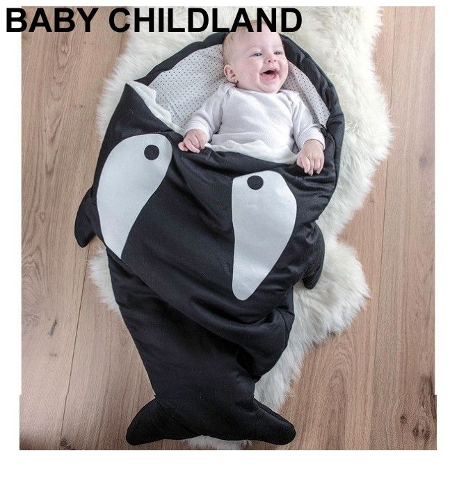 Мультфильм акула одеяла новорожденных зимний коляски кровать пеленать одеяло обертывание симпатичные постельных принадлежностей ребенка пеленать одеяло постельное бельепокрывалоконверт для новорожденныходеяло для новор