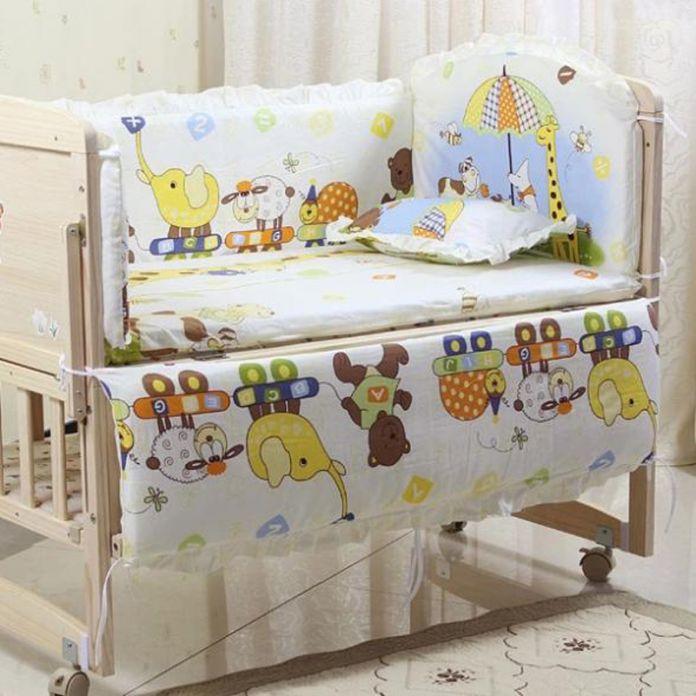 5 ШТ./КОМПЛ. Детское постельное белье устанавливает 100% хлопок детское постельное белье Мультфильм кроватки постельных принадлежностей включите подушка бамперы матрас