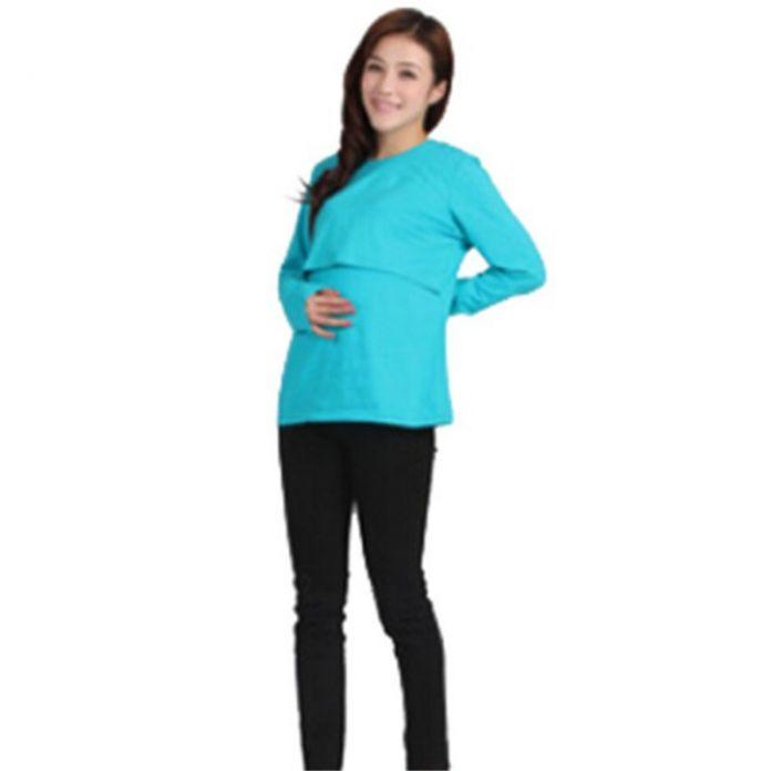 Одежда для беременных уход с длинным рукавом о шеи футболка беременные женская верхняя