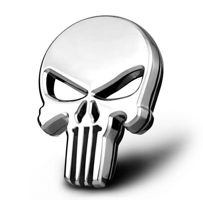 Стикер автомобиля Эмблемы Также Для Мотоциклов Harley Черепа Punisher Металлического Серебра 5x6 см Тюнинг Автомобилей Стайлинг Аксессуары