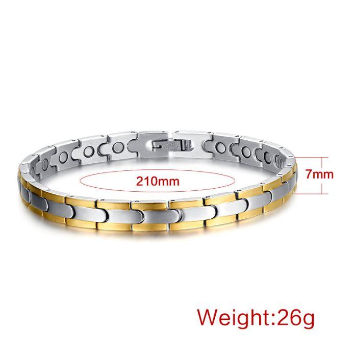 Vnox Здоровья браслет и браслет для Женщин магнитная 316l нержавеющей стали Регулируемая Длина