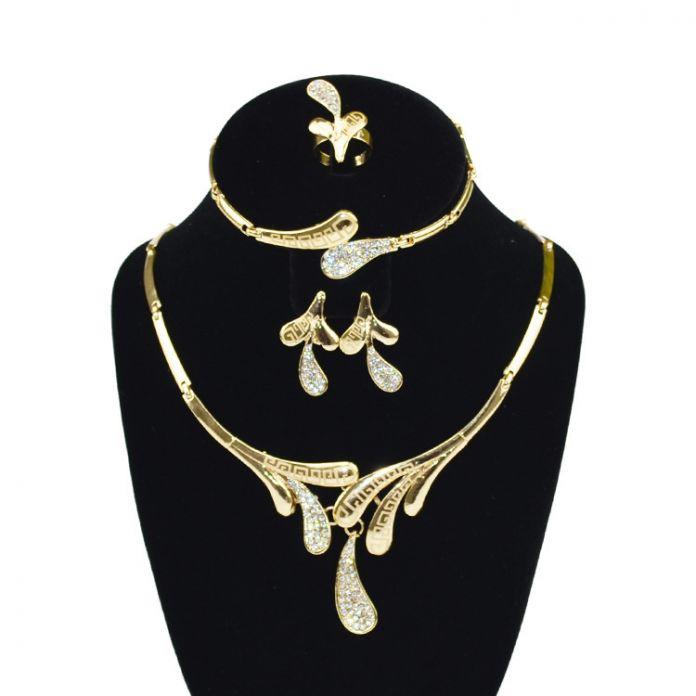 Африканские Комплекты Ювелирных Изделий для Свадьбы 2017 Новый Модный Позолоченные Кристалл Серьги Браслет Кольцо Комплект Ожерелья parure биёутерии марьяё