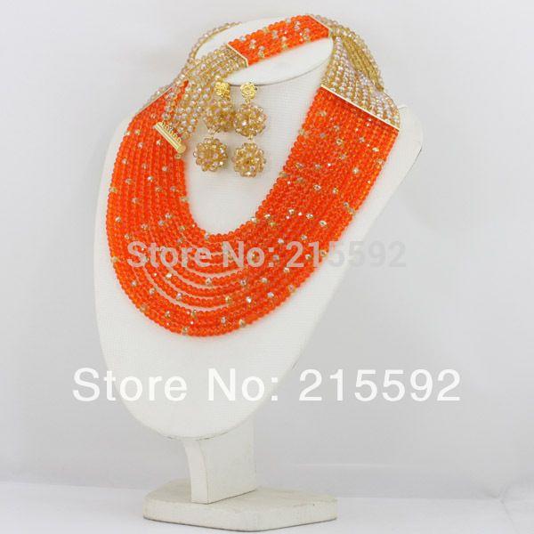 Оранжевый и Шампанское Африканские Бусы Комплект Ювелирных Изделий Свадебное Ожерелье Кристаллические Шарики Комплект Ювелирных Изделий 10 Ряда Бесплатная Доставка AJS228