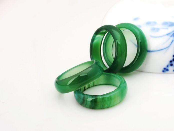 2016 Горячей Продажи высокого качества Естественный зеленый Агат нефрит Кристалл кольцо ювелирные изделия обручальные обручальные кольца для женщин и мужчин оптовая