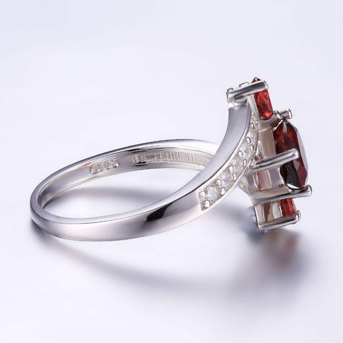 JewelryPalace Стерлингового Серебра 925 1.2ct Натуральный Красный Гранат 3 Каменных Кольца Юбилей Сказочный Дизайн Горячие Продажа Продвижение Лучший Подарок