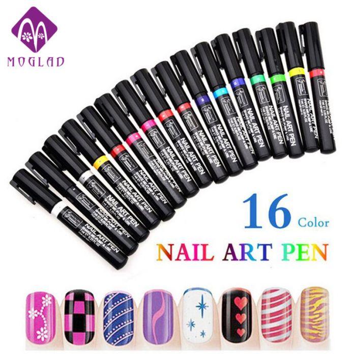Горячая продажа 3D 16 Цветов nail art pen картина design tool рисование для УФ-гель польский DIY краска украшения ногтей перо