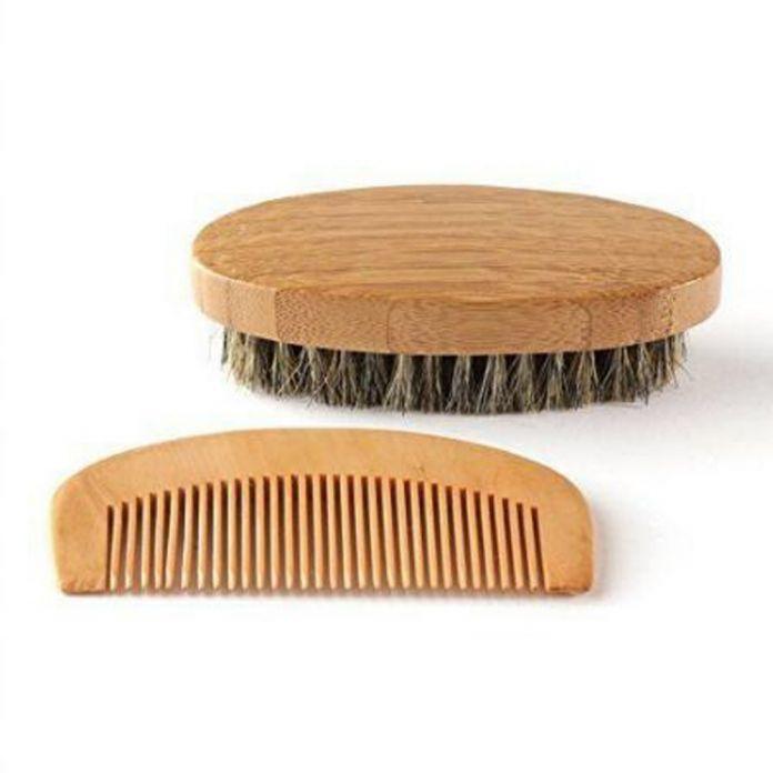 2 шт./компл. Борода brush and comb & лотос дерево бамбук Уход За Волосами Стайлинг Человек Джентльмен щетка из щетины борода шаблон уход инструменты