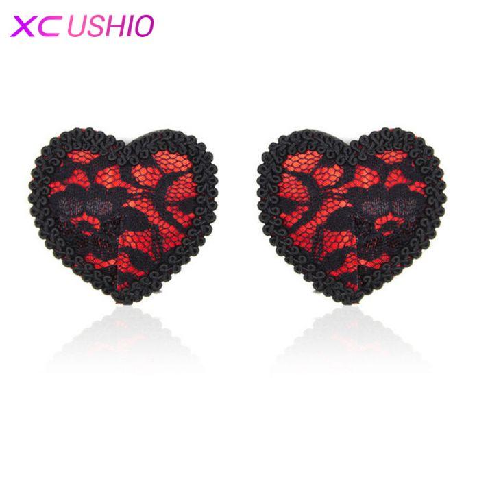 Бесплатная доставка, черно-красные кружевные шелковые наклейки на соски Сердечки, наклейки для сосков в форме сердец, пэстис, пестис, pastease, накладки на грудь, женское белье