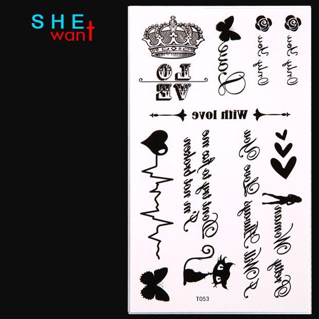 Бесплатная доставка стикер временные татуировки/Бабочка, сердце, роза, корона, девушка, письмо, звезда, кошки/водонепроницаемый, передача татуировки