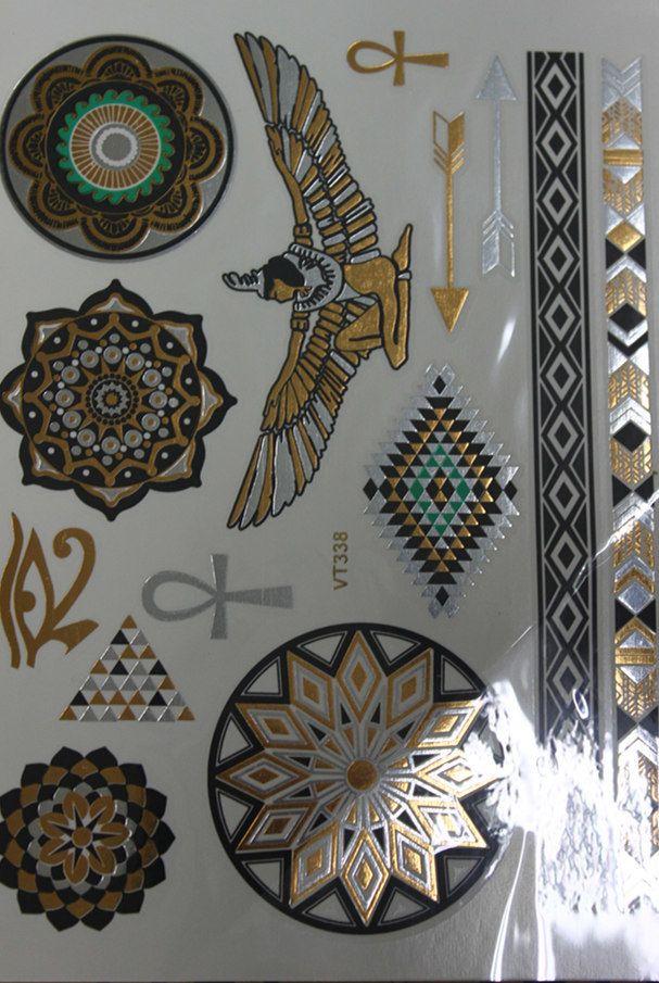 2015 красочные круглые модель макияж татуировка экзотические египет девушка довольно временные татуировки сексуальная вспышка хна золото татуировки # VT338