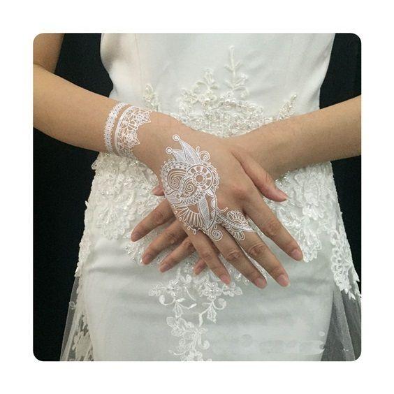 1 шт. Индийские Арабские белый тату хной вставить кружева дизайн свадьбы Невеста колье татуировки наклейки Модные переводные татуировки BS-01
