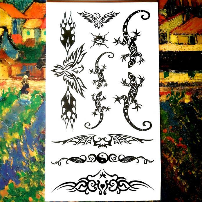 Временные Татуировки, Боди-Арт, сексуальная Ящерицы Конструкции, флэш Татуировки Наклейки Держать 3-5 дней Водонепроницаемый Тату Хной Продукты Секса