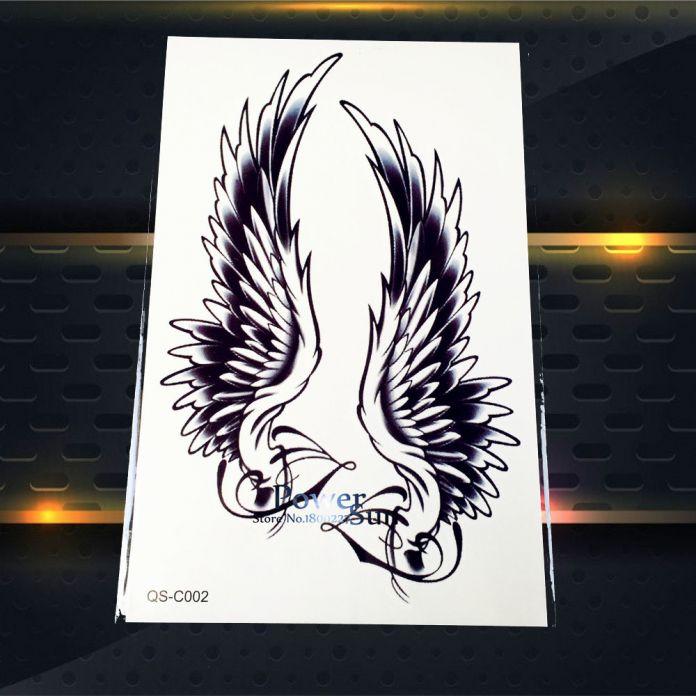 1 ШТ. Горячая Большой Крыло Ангела Тату Рукава Тело Обратно Искусства временные Татуировки Наклейки Водонепроницаемый Хной Поддельные Руку Татуировки Крыло Перо S-C51