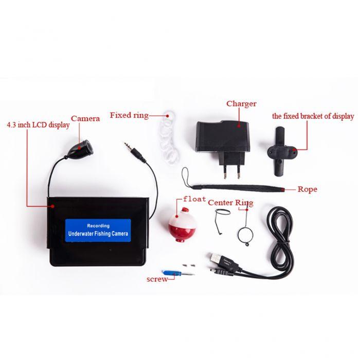 20 М 4.3 Inch LCD Monitor Professional TFT Подводный Системы Рыбалка Камеры HD 1000TV Линии Подводная Камера Монитор С Случае
